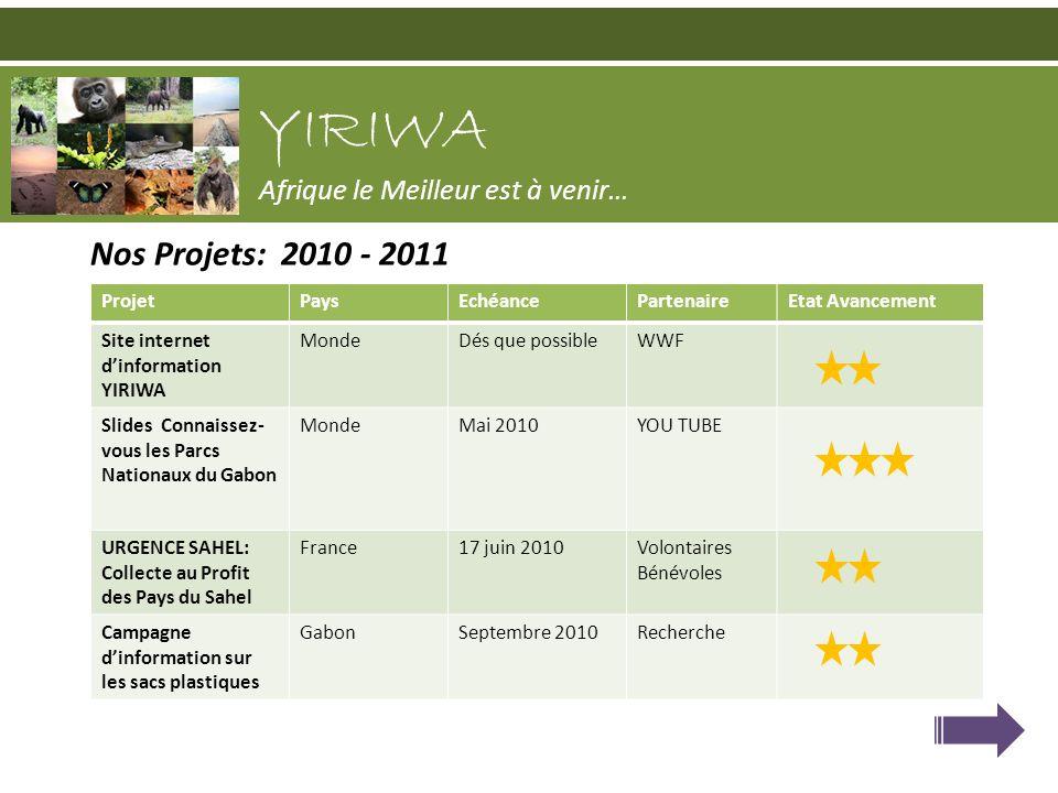 Nos Projets: 2010 - 2011 YIRIWA Afrique le Meilleur est à venir… ProjetPaysEchéancePartenaireEtat Avancement Site internet dinformation YIRIWA MondeDé