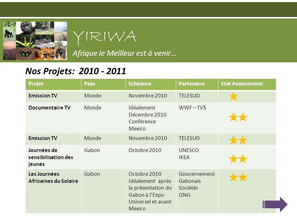 Nos Projets: 2010 - 2011 YIRIWA Afrique le Meilleur est à venir… ProjetPaysEchéancePartenaireEtat Avancement Emission TVMondeNovembre 2010TELESUD Docu