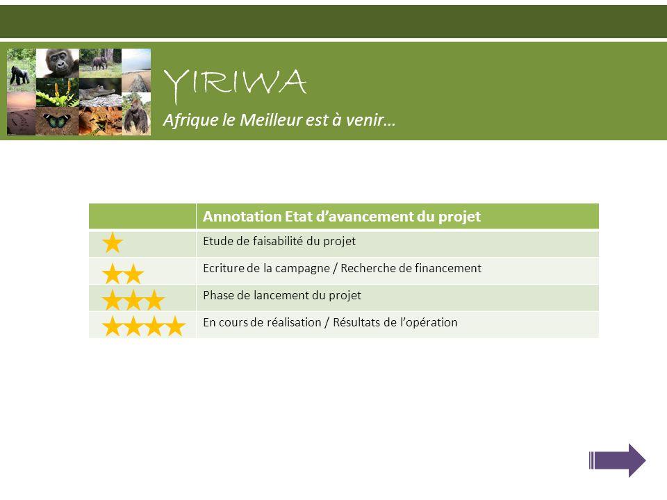 YIRIWA Afrique le Meilleur est à venir… Annotation Etat davancement du projet Etude de faisabilité du projet Ecriture de la campagne / Recherche de fi