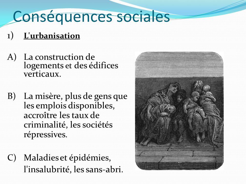 Conséquences sociales 1) L'urbanisation A)La construction de logements et des édifices verticaux. B) La misère, plus de gens que les emplois disponibl