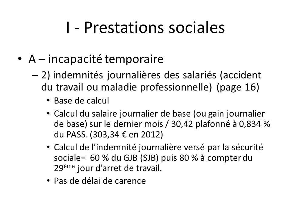 I - Prestations sociales A – incapacité temporaire – 2) indemnités journalières des salariés (accident du travail ou maladie professionnelle) (page 16