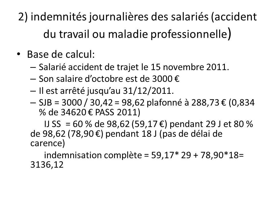 2) indemnités journalières des salariés (accident du travail ou maladie professionnelle ) Base de calcul: – Salarié accident de trajet le 15 novembre