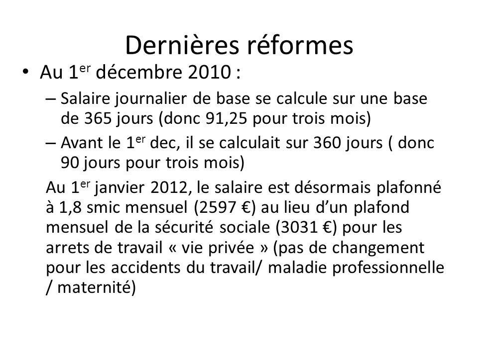 Dernières réformes Au 1 er décembre 2010 : – Salaire journalier de base se calcule sur une base de 365 jours (donc 91,25 pour trois mois) – Avant le 1