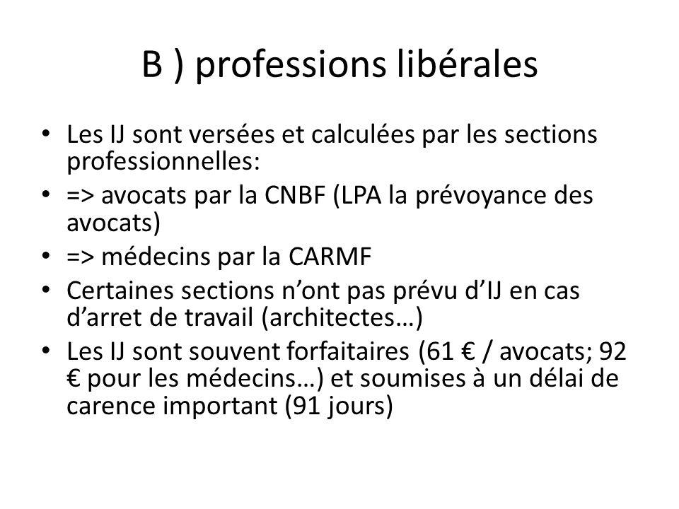 B ) professions libérales Les IJ sont versées et calculées par les sections professionnelles: => avocats par la CNBF (LPA la prévoyance des avocats) =