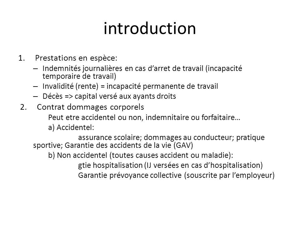 introduction 1.Prestations en espèce: – Indemnités journalières en cas darret de travail (incapacité temporaire de travail) – Invalidité (rente) = inc
