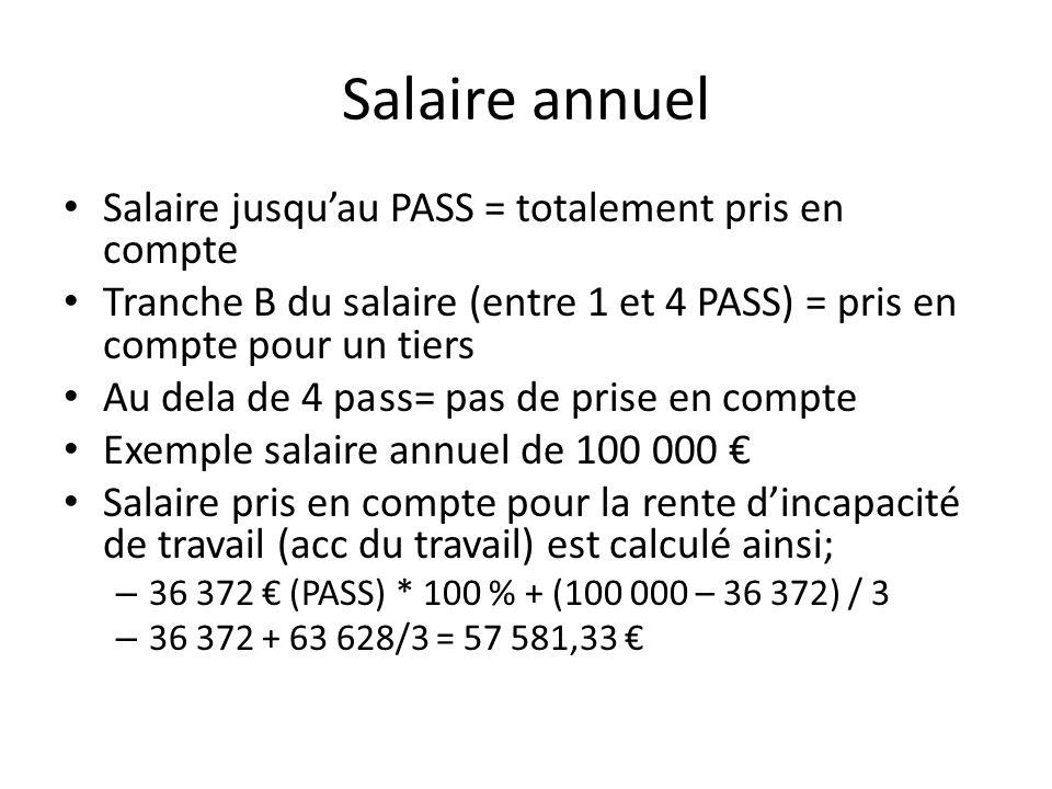 Salaire annuel Salaire jusquau PASS = totalement pris en compte Tranche B du salaire (entre 1 et 4 PASS) = pris en compte pour un tiers Au dela de 4 p