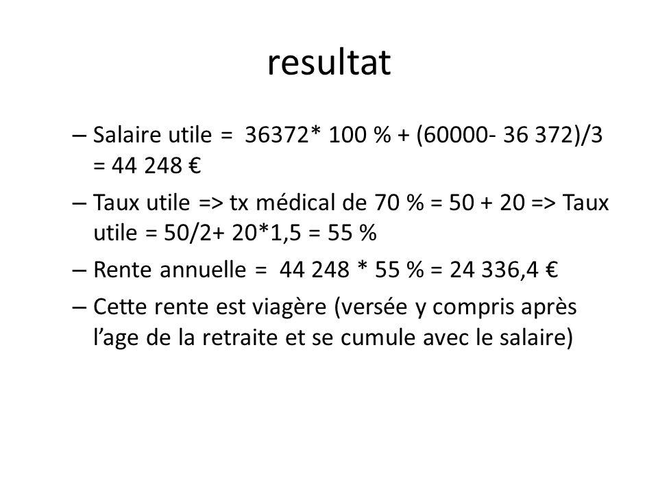 resultat – Salaire utile = 36372* 100 % + (60000- 36 372)/3 = 44 248 – Taux utile => tx médical de 70 % = 50 + 20 => Taux utile = 50/2+ 20*1,5 = 55 %