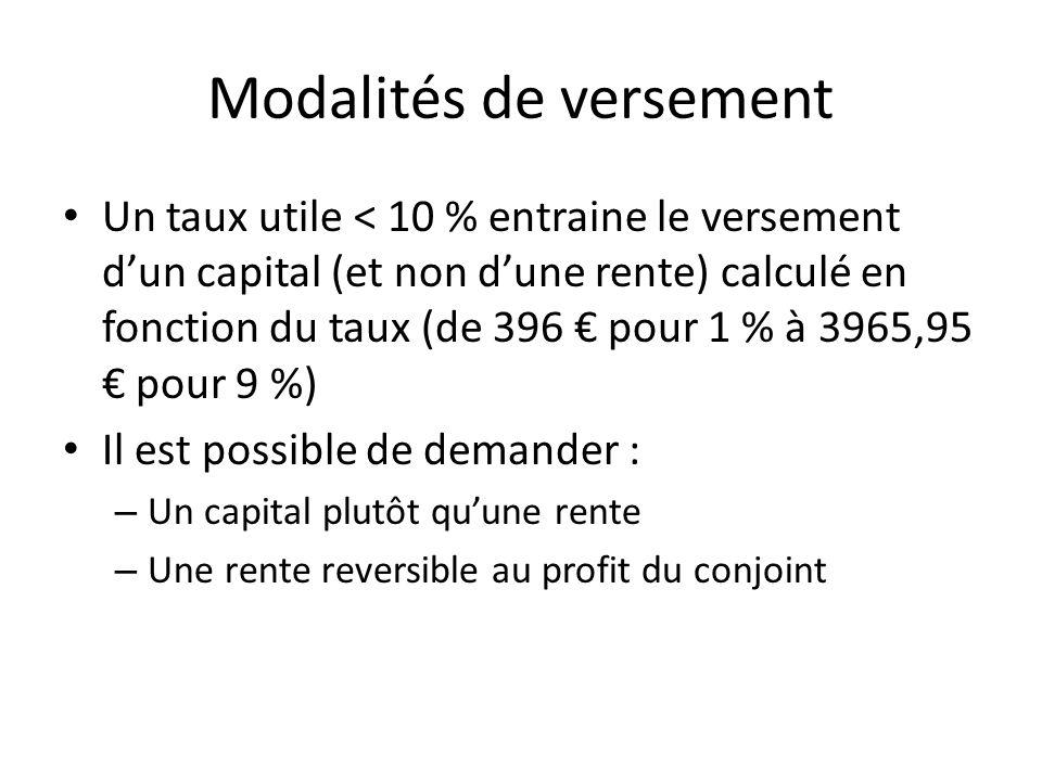 Modalités de versement Un taux utile < 10 % entraine le versement dun capital (et non dune rente) calculé en fonction du taux (de 396 pour 1 % à 3965,