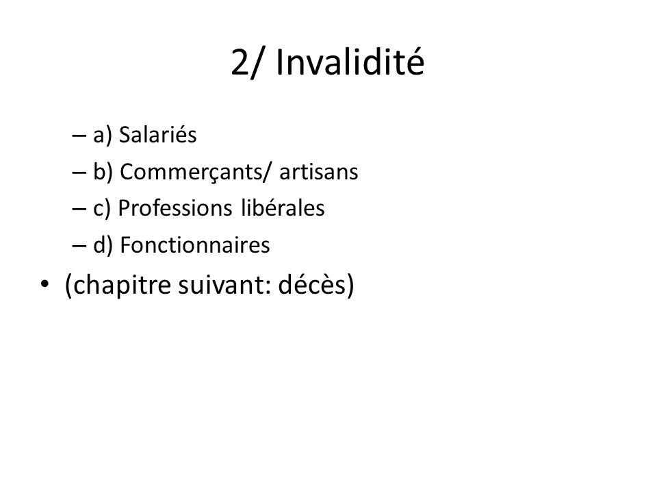 2/ Invalidité – a) Salariés – b) Commerçants/ artisans – c) Professions libérales – d) Fonctionnaires (chapitre suivant: décès)