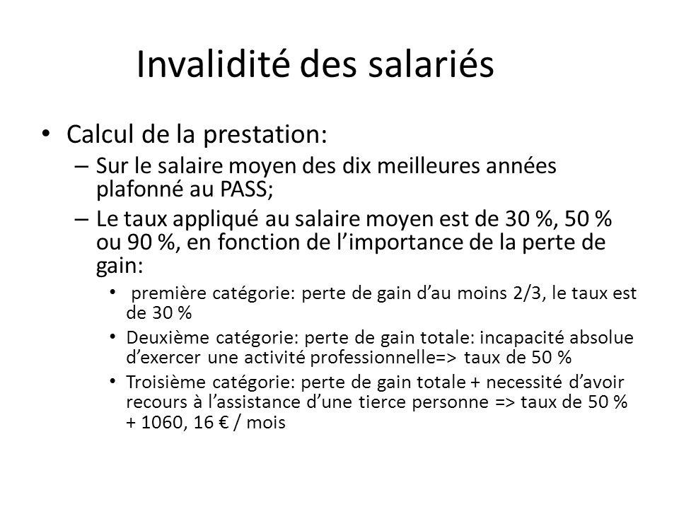 Invalidité des salariés Calcul de la prestation: – Sur le salaire moyen des dix meilleures années plafonné au PASS; – Le taux appliqué au salaire moye