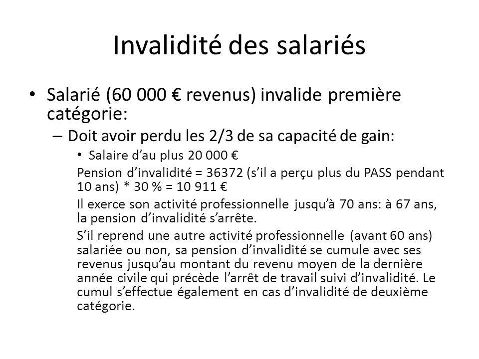 Invalidité des salariés Salarié (60 000 revenus) invalide première catégorie: – Doit avoir perdu les 2/3 de sa capacité de gain: Salaire dau plus 20 0