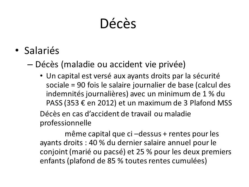 Décès Salariés – Décès (maladie ou accident vie privée) Un capital est versé aux ayants droits par la sécurité sociale = 90 fois le salaire journalier