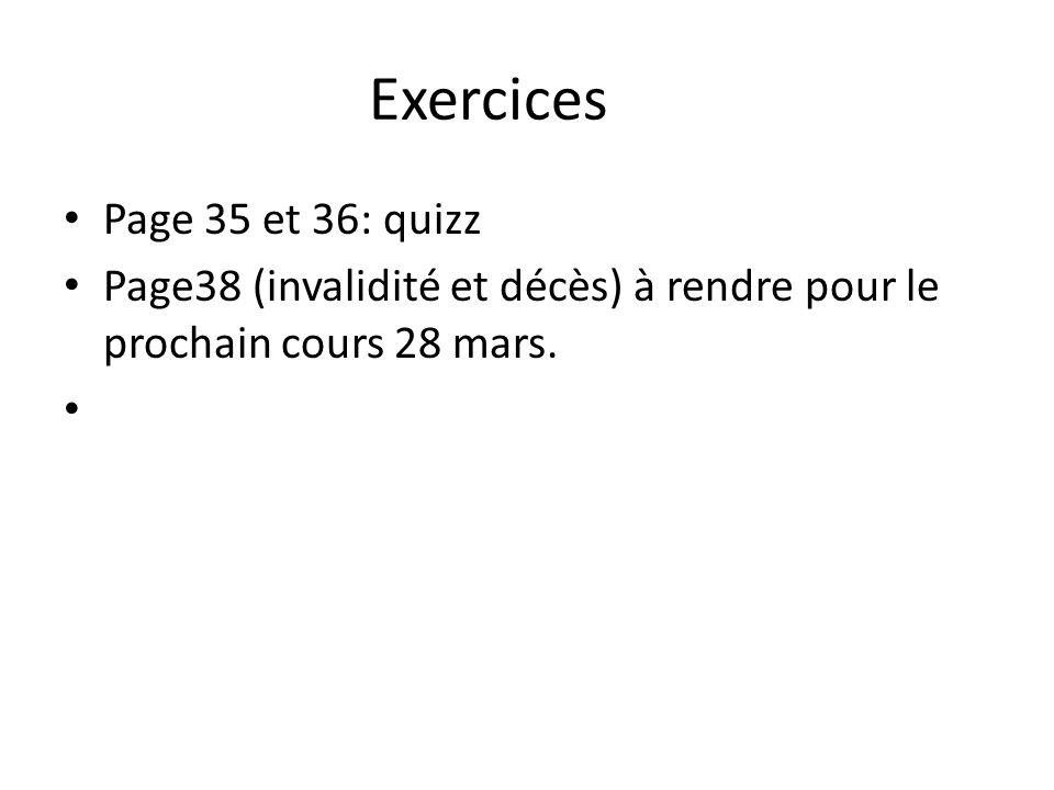 Exercices Page 35 et 36: quizz Page38 (invalidité et décès) à rendre pour le prochain cours 28 mars.