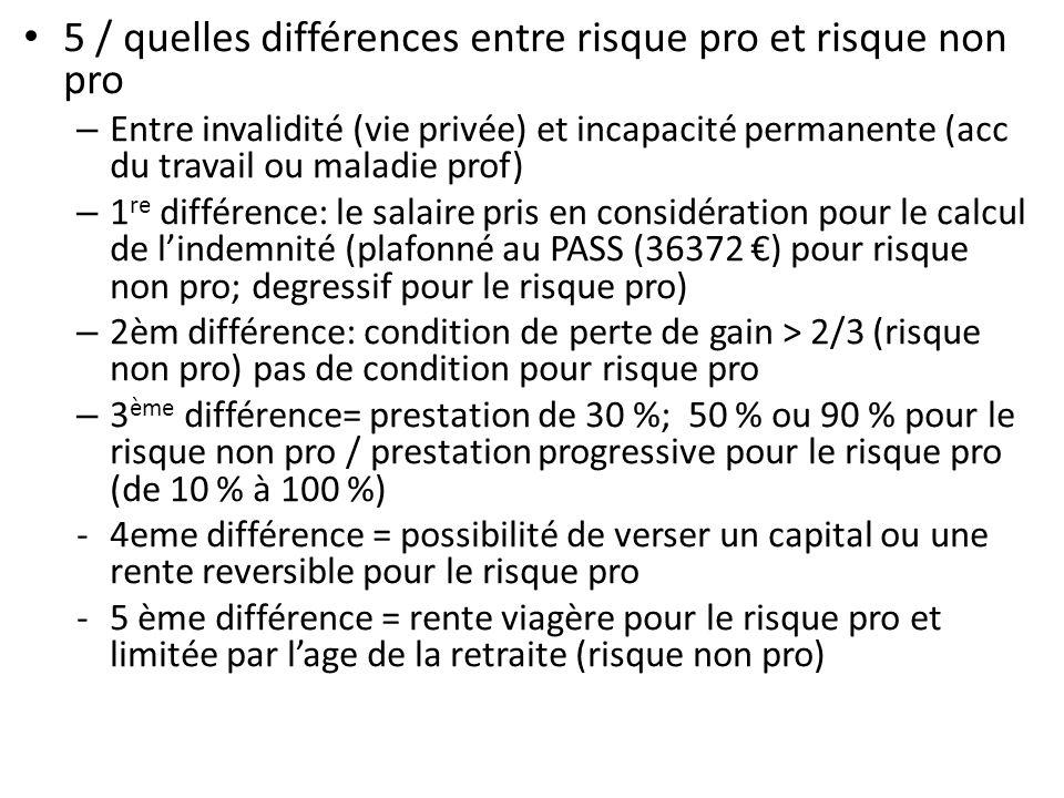 5 / quelles différences entre risque pro et risque non pro – Entre invalidité (vie privée) et incapacité permanente (acc du travail ou maladie prof) –