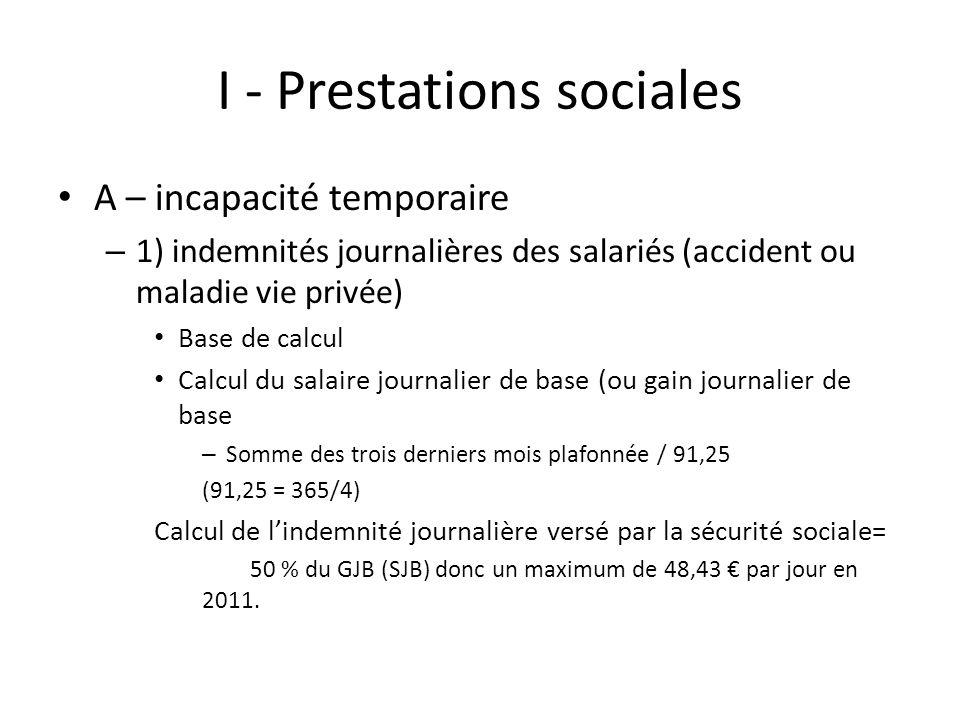 I - Prestations sociales A – incapacité temporaire – 1) indemnités journalières des salariés (accident ou maladie vie privée) Base de calcul Calcul du