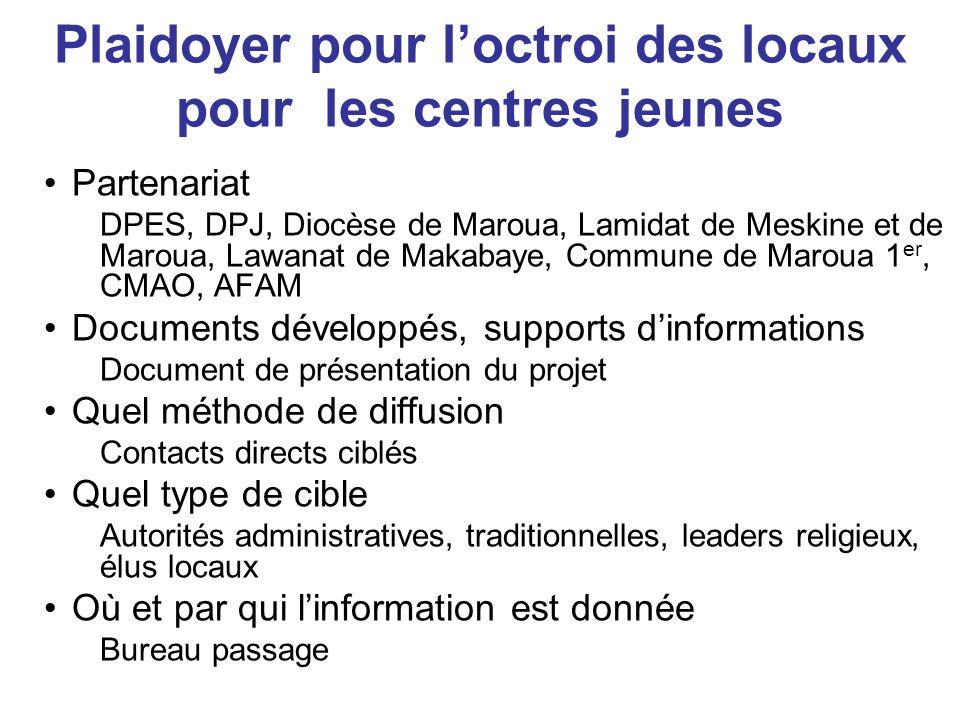 Plaidoyer pour loctroi des locaux pour les centres jeunes Partenariat DPES, DPJ, Diocèse de Maroua, Lamidat de Meskine et de Maroua, Lawanat de Makaba
