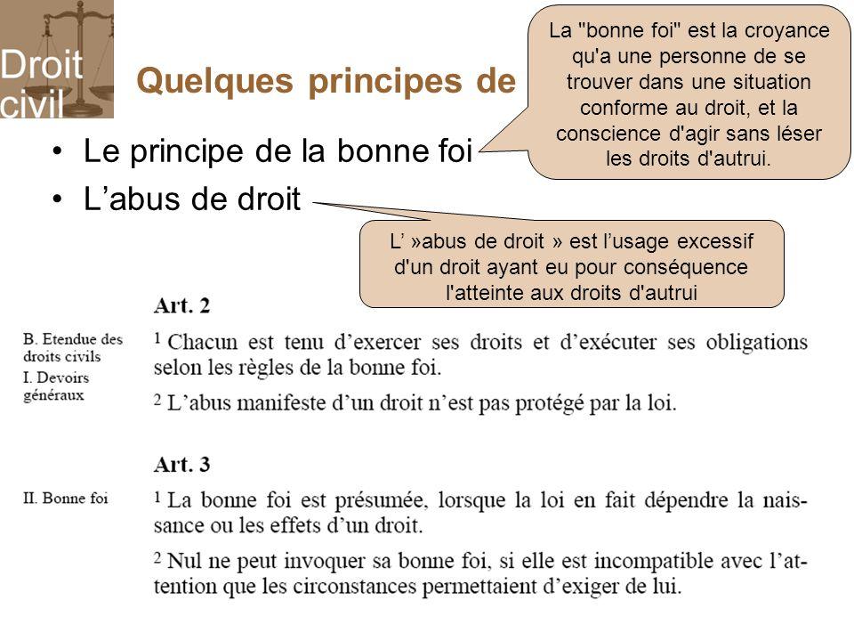 Quelques principes de base du droit civil Le principe de la bonne foi Labus de droit La