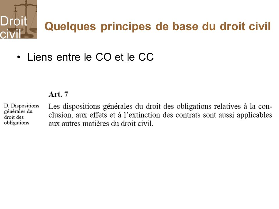 Quelques principes de base du droit civil Liens entre le CO et le CC