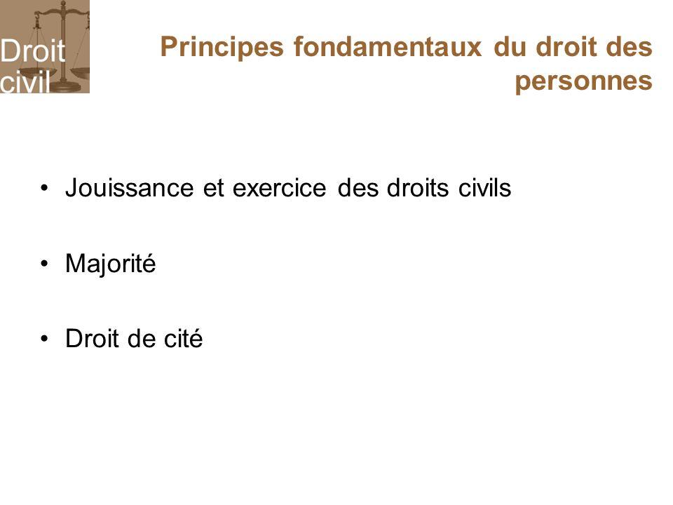 Principes fondamentaux du droit des personnes Jouissance et exercice des droits civils Majorité Droit de cité