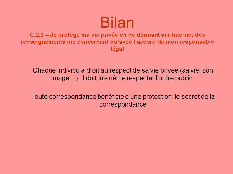 Bilan C.2.2 – Je protège ma vie privée en ne donnant sur Internet des renseignements me concernant quavec laccord de mon responsable légal -Chaque ind