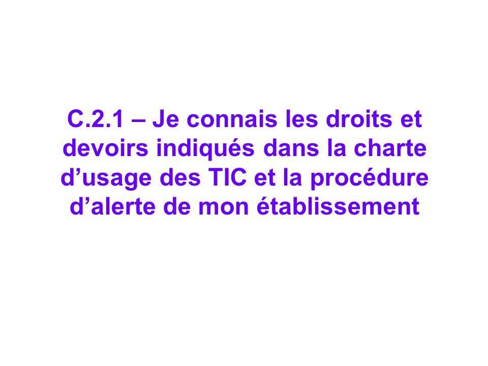 C.2.1 – Je connais les droits et devoirs indiqués dans la charte dusage des TIC et la procédure dalerte de mon établissement