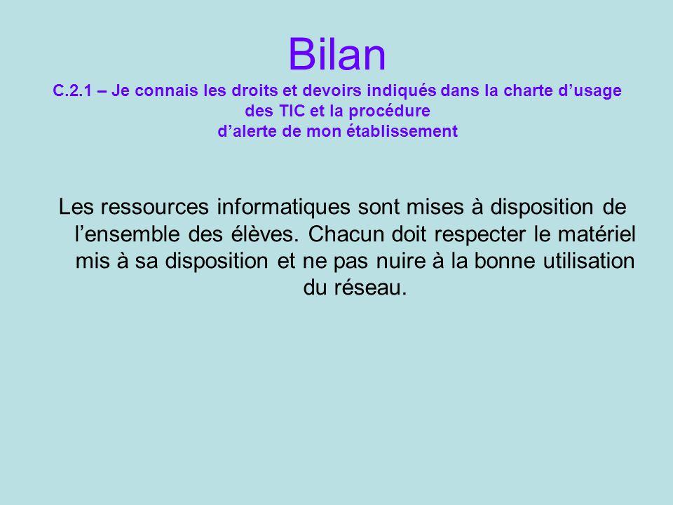 Bilan C.2.1 – Je connais les droits et devoirs indiqués dans la charte dusage des TIC et la procédure dalerte de mon établissement Les ressources info