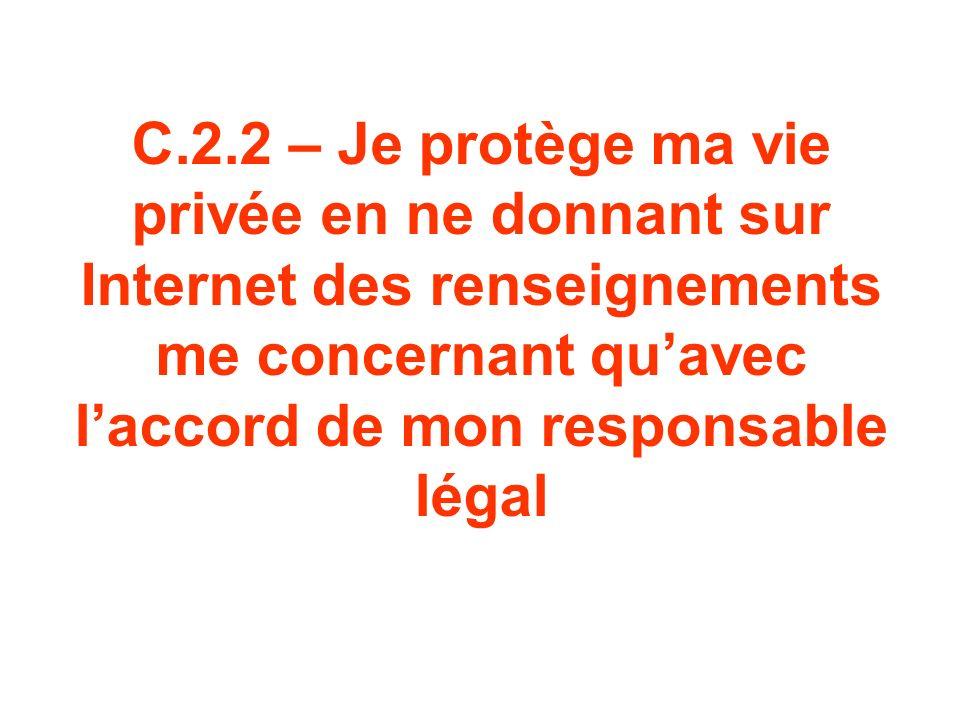 C.2.2 – Je protège ma vie privée en ne donnant sur Internet des renseignements me concernant quavec laccord de mon responsable légal