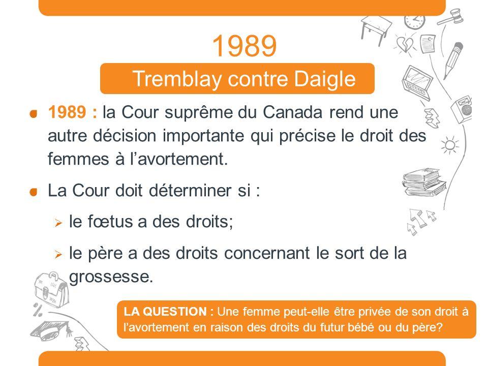 1989 1989 : la Cour suprême du Canada rend une autre décision importante qui précise le droit des femmes à lavortement. La Cour doit déterminer si : l