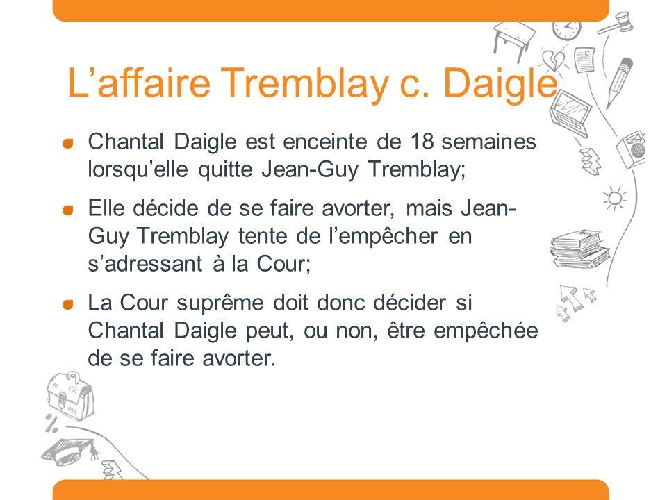 Laffaire Tremblay c. Daigle Chantal Daigle est enceinte de 18 semaines lorsquelle quitte Jean-Guy Tremblay; Elle décide de se faire avorter, mais Jean