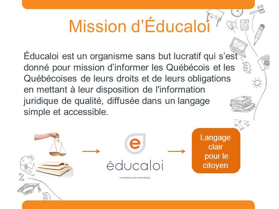Mission dÉducaloi Éducaloi est un organisme sans but lucratif qui sest donné pour mission dinformer les Québécois et les Québécoises de leurs droits e