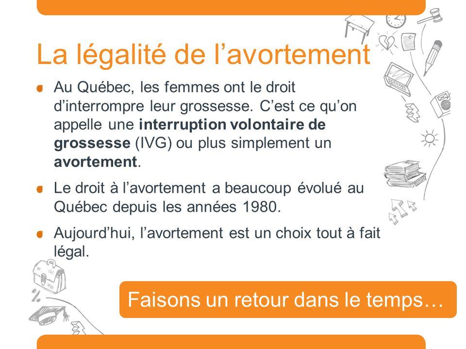 La légalité de lavortement Au Québec, les femmes ont le droit dinterrompre leur grossesse. Cest ce quon appelle une interruption volontaire de grosses