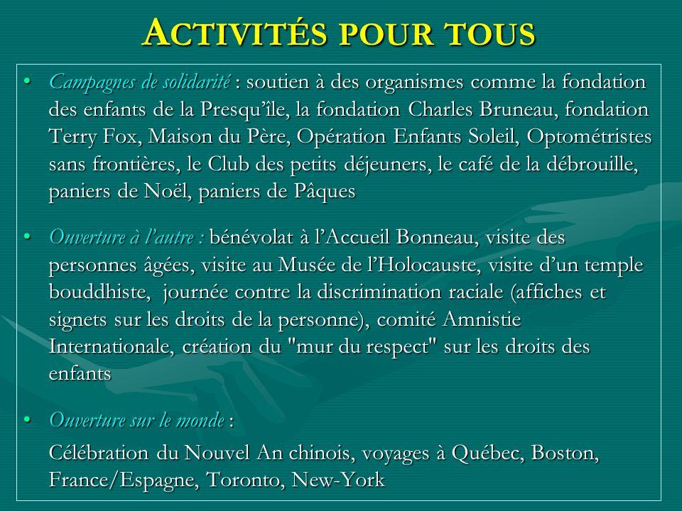 A CTIVITÉS POUR TOUS Campagnes de solidarité : soutien à des organismes comme la fondation des enfants de la Presquîle, la fondation Charles Bruneau,