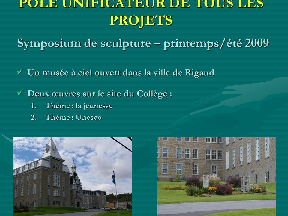 PÔLE UNIFICATEUR DE TOUS LES PROJETS Symposium de sculpture – printemps/été 2009 Un musée à ciel ouvert dans la ville de Rigaud Un musée à ciel ouvert