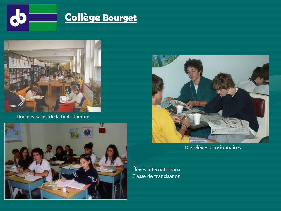 Une des salles de la bibliothèque Des élèves pensionnaires Élèves internationaux Classe de francisation