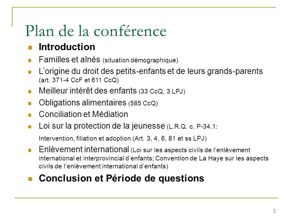 2 Plan de la conférence Introduction Familles et aînés (situation démographique) Lorigine du droit des petits-enfants et de leurs grands-parents (art.