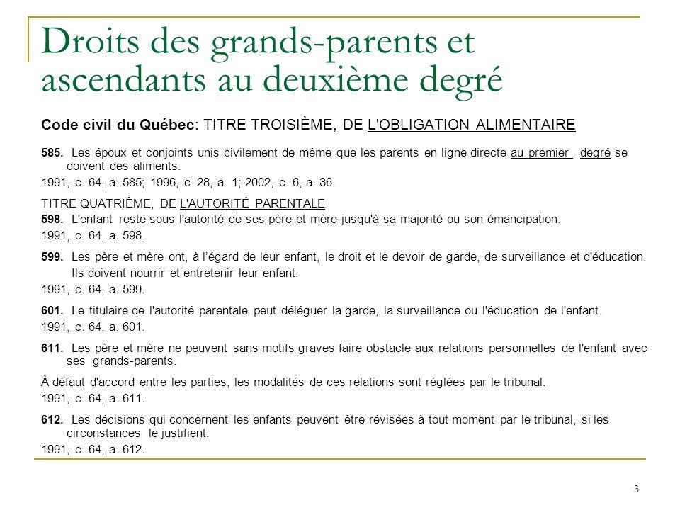 3 Droits des grands-parents et ascendants au deuxième degré Code civil du Québec: TITRE TROISIÈME, DE L OBLIGATION ALIMENTAIRE 585.