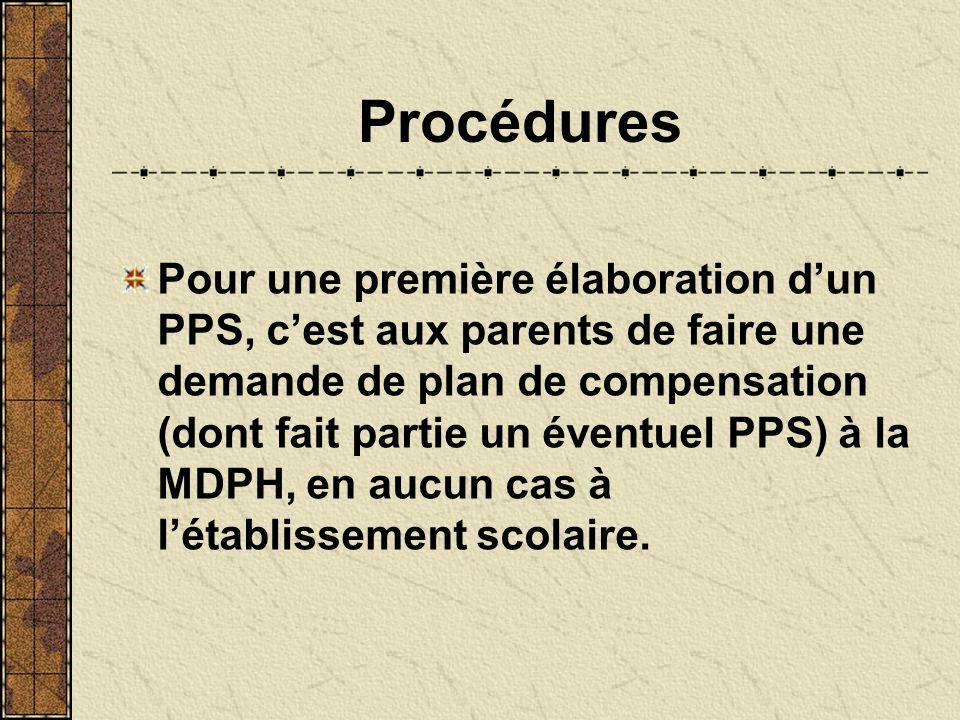 Procédures Pour une première élaboration dun PPS, cest aux parents de faire une demande de plan de compensation (dont fait partie un éventuel PPS) à la MDPH, en aucun cas à létablissement scolaire.