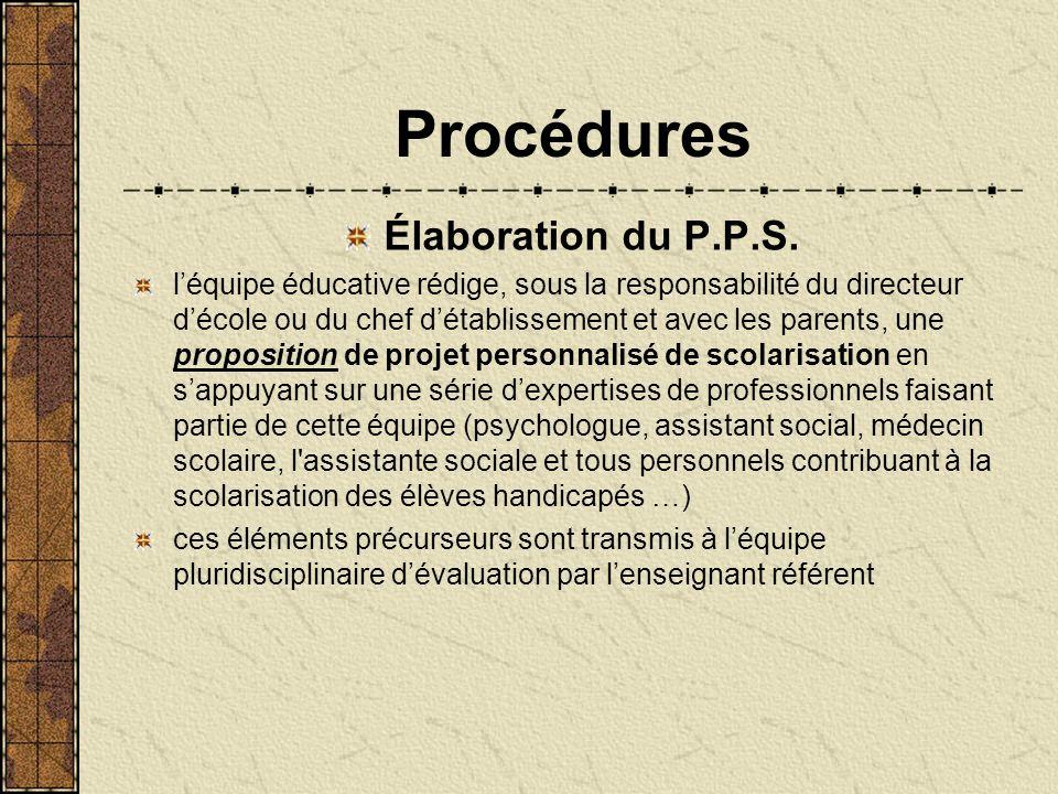 Procédures Élaboration du P.P.S.