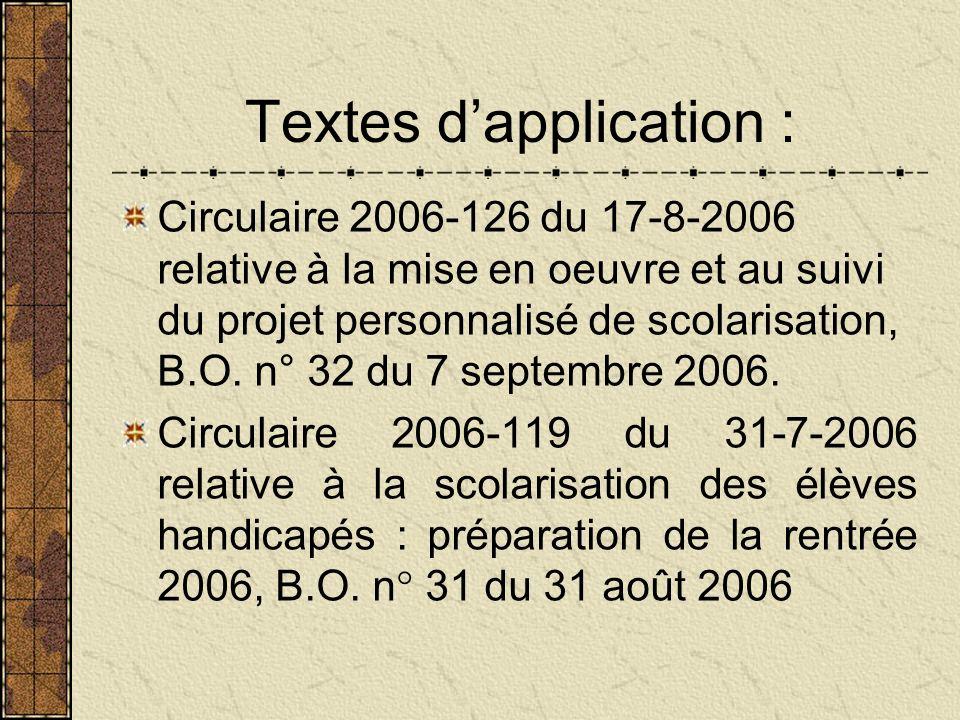 Textes dapplication : Circulaire 2006-126 du 17-8-2006 relative à la mise en oeuvre et au suivi du projet personnalisé de scolarisation, B.O.
