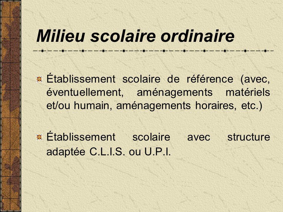 Accueil en établissement médico-éducatif Unité dEnseignement + établissement scolaire de référence.