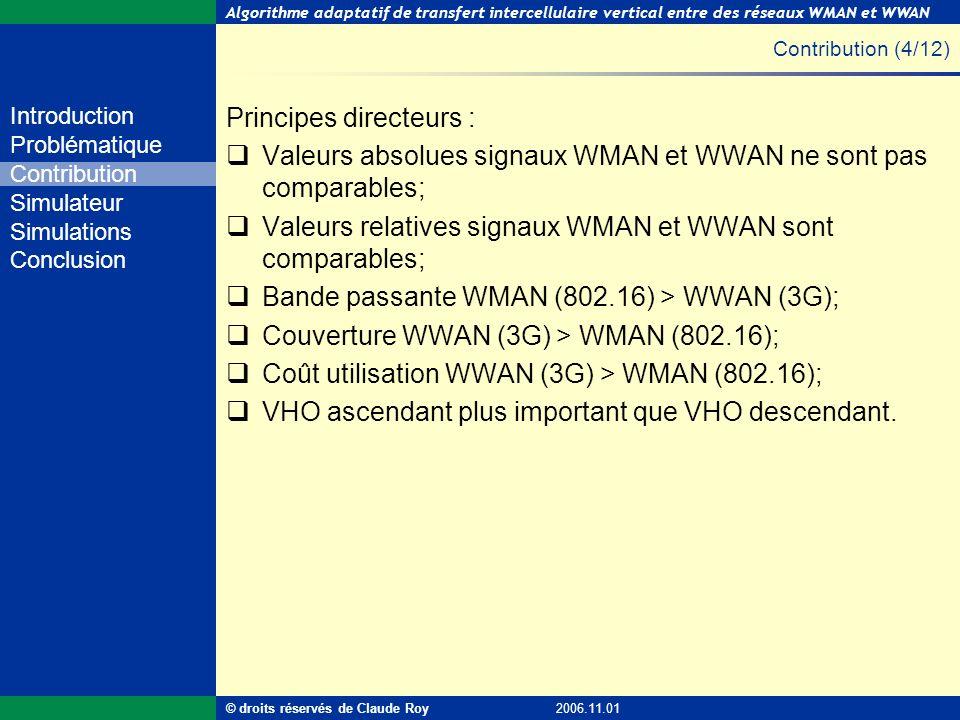 Algorithme adaptatif de transfert intercellulaire vertical entre des réseaux WMAN et WWAN 15 de 55 Introduction Problématique Contribution Simulateur
