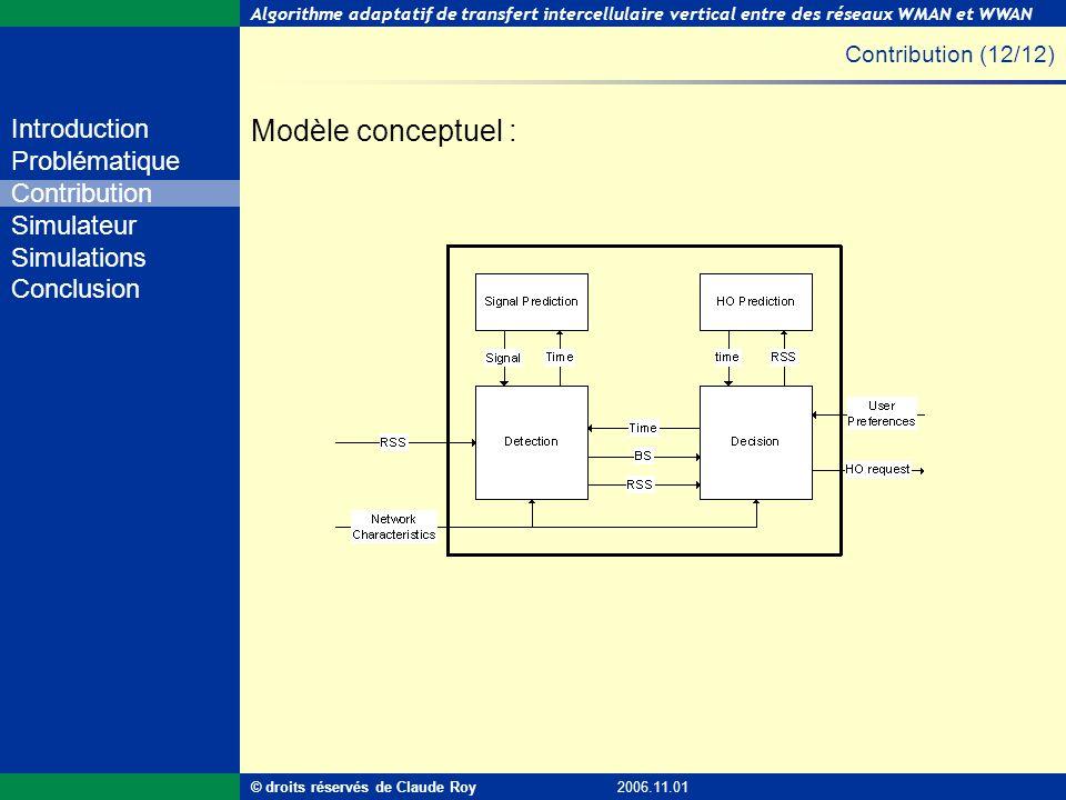 Algorithme adaptatif de transfert intercellulaire vertical entre des réseaux WMAN et WWAN 23 de 55 Introduction Problématique Contribution Simulateur