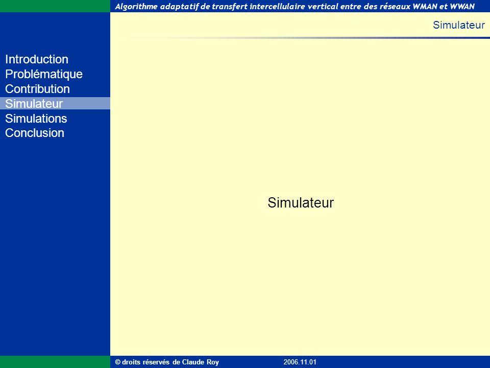 Algorithme adaptatif de transfert intercellulaire vertical entre des réseaux WMAN et WWAN 24 de 55 Introduction Problématique Contribution Simulateur