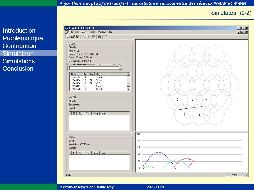 Algorithme adaptatif de transfert intercellulaire vertical entre des réseaux WMAN et WWAN 26 de 55 Introduction Problématique Contribution Simulateur