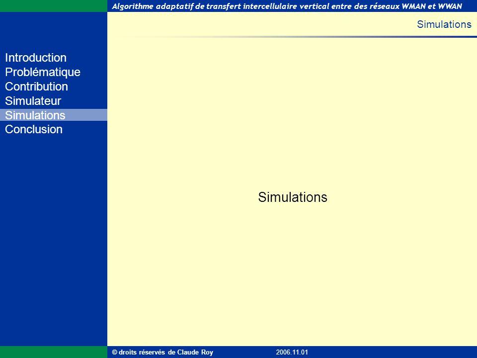 Algorithme adaptatif de transfert intercellulaire vertical entre des réseaux WMAN et WWAN 27 de 55 Introduction Problématique Contribution Simulateur