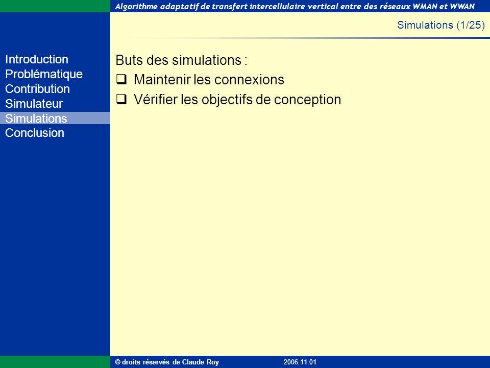 Algorithme adaptatif de transfert intercellulaire vertical entre des réseaux WMAN et WWAN 28 de 55 Introduction Problématique Contribution Simulateur
