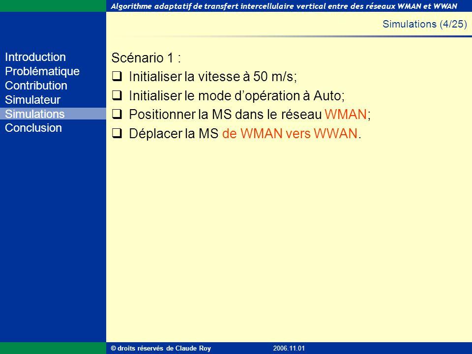 Algorithme adaptatif de transfert intercellulaire vertical entre des réseaux WMAN et WWAN 31 de 55 Introduction Problématique Contribution Simulateur