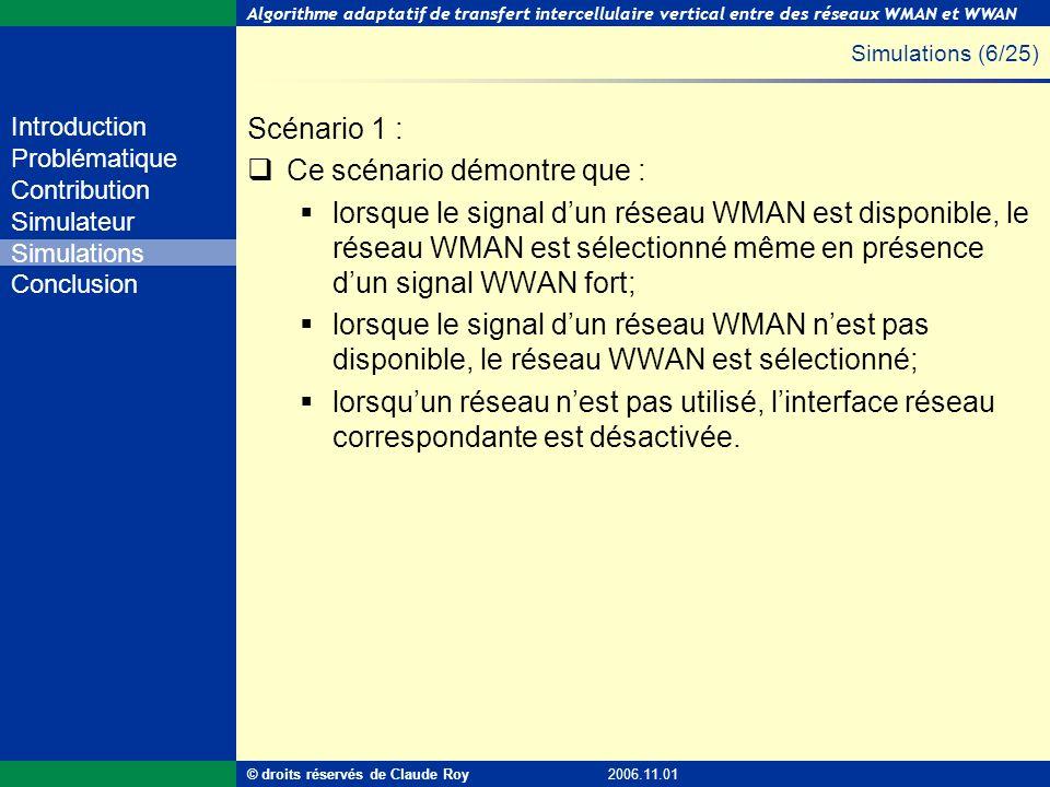 Algorithme adaptatif de transfert intercellulaire vertical entre des réseaux WMAN et WWAN 33 de 55 Introduction Problématique Contribution Simulateur
