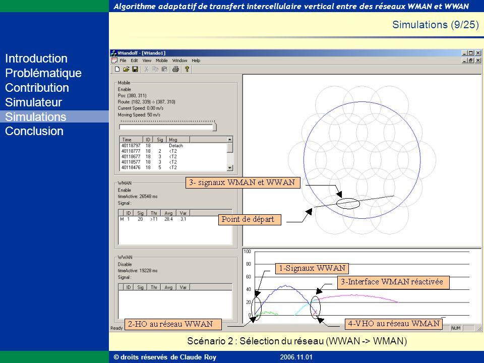 Algorithme adaptatif de transfert intercellulaire vertical entre des réseaux WMAN et WWAN 36 de 55 Introduction Problématique Contribution Simulateur