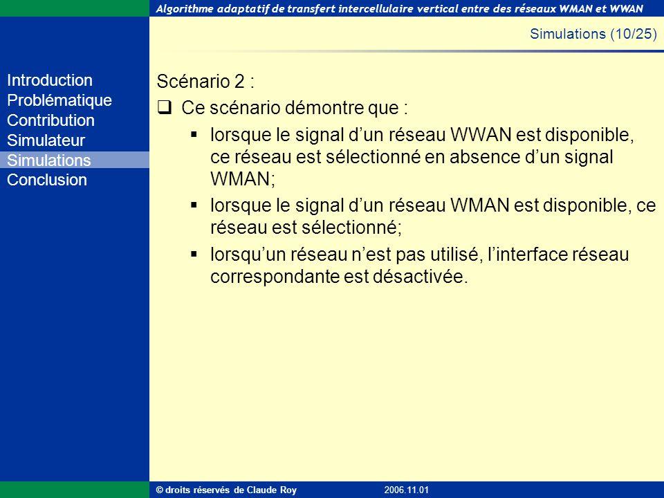 Algorithme adaptatif de transfert intercellulaire vertical entre des réseaux WMAN et WWAN 37 de 55 Introduction Problématique Contribution Simulateur